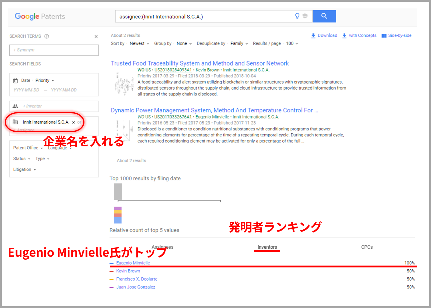 企業名で特許を調べる方法(GooglePatentsより)