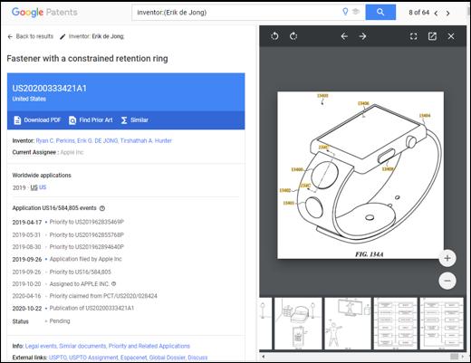 Erik氏の最新の出願US20200333421A1では、ワイヤレスタグをバンドに搭載した時計の記載がある(Google Patensより) ※ここで記載した「最新」とは2021/01/21現在・Google Patentsでヒットする範囲での出願時期が最新のものを示す