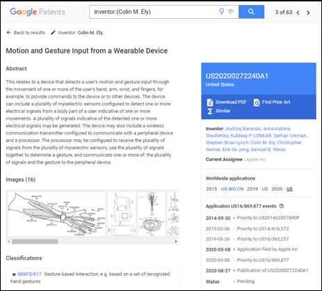 US20200272240A1では、光センサによる腕の腱などの動き検出に関する技術が記載されている(Google Patensより)